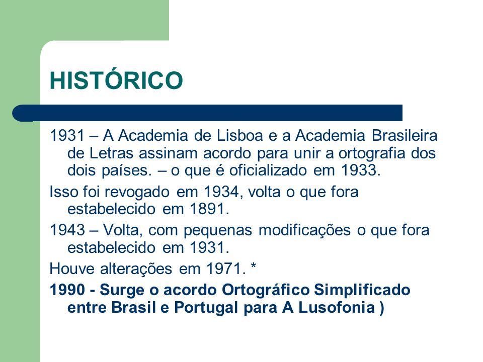 HISTÓRICO 1931 – A Academia de Lisboa e a Academia Brasileira de Letras assinam acordo para unir a ortografia dos dois países.