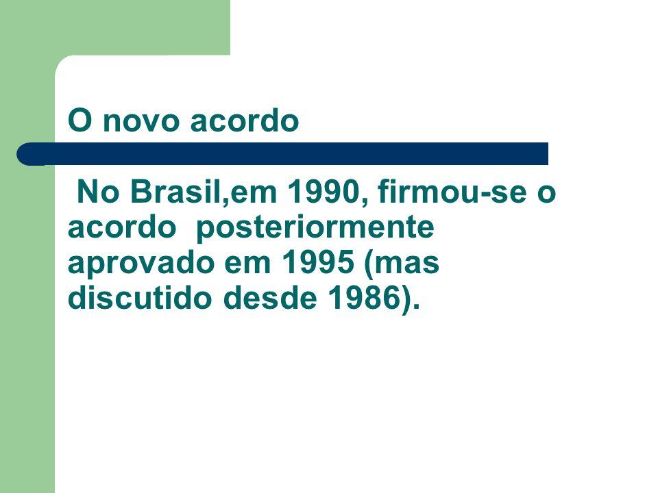 O novo acordo No Brasil,em 1990, firmou-se o acordo posteriormente aprovado em 1995 (mas discutido desde 1986).