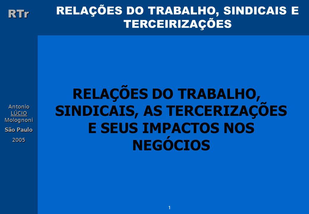 RELAÇÕES DO TRABALHO, SINDICAIS E TERCEIRIZAÇÕES RTr Antonio LÚCIO Molognoni São Paulo 2005 32 2.
