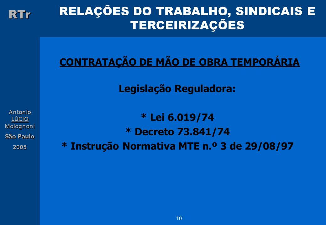 RELAÇÕES DO TRABALHO, SINDICAIS E TERCEIRIZAÇÕES RTr Antonio LÚCIO Molognoni São Paulo 2005 10 CONTRATAÇÃO DE MÃO DE OBRA TEMPORÁRIA Legislação Regula