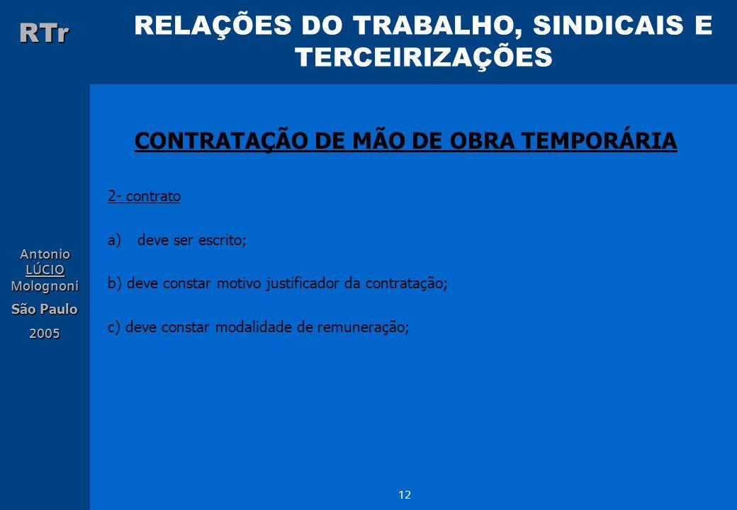 RELAÇÕES DO TRABALHO, SINDICAIS E TERCEIRIZAÇÕES RTr Antonio LÚCIO Molognoni São Paulo 2005 12 CONTRATAÇÃO DE MÃO DE OBRA TEMPORÁRIA 2- contrato a)dev