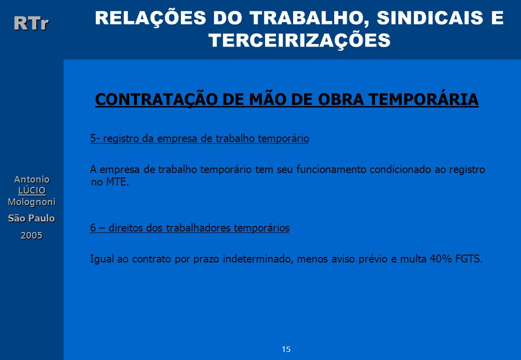 RELAÇÕES DO TRABALHO, SINDICAIS E TERCEIRIZAÇÕES RTr Antonio LÚCIO Molognoni São Paulo 2005 15 CONTRATAÇÃO DE MÃO DE OBRA TEMPORÁRIA 5- registro da em