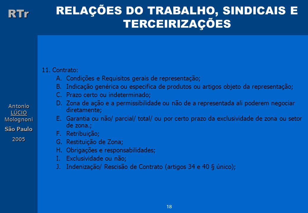 RELAÇÕES DO TRABALHO, SINDICAIS E TERCEIRIZAÇÕES RTr Antonio LÚCIO Molognoni São Paulo 2005 18 11. Contrato: A.Condições e Requisitos gerais de repres