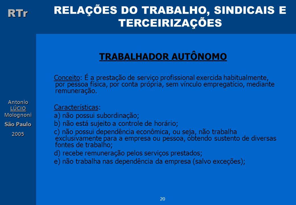 RELAÇÕES DO TRABALHO, SINDICAIS E TERCEIRIZAÇÕES RTr Antonio LÚCIO Molognoni São Paulo 2005 20 TRABALHADOR AUTÔNOMO Conceito: É a prestação de serviço