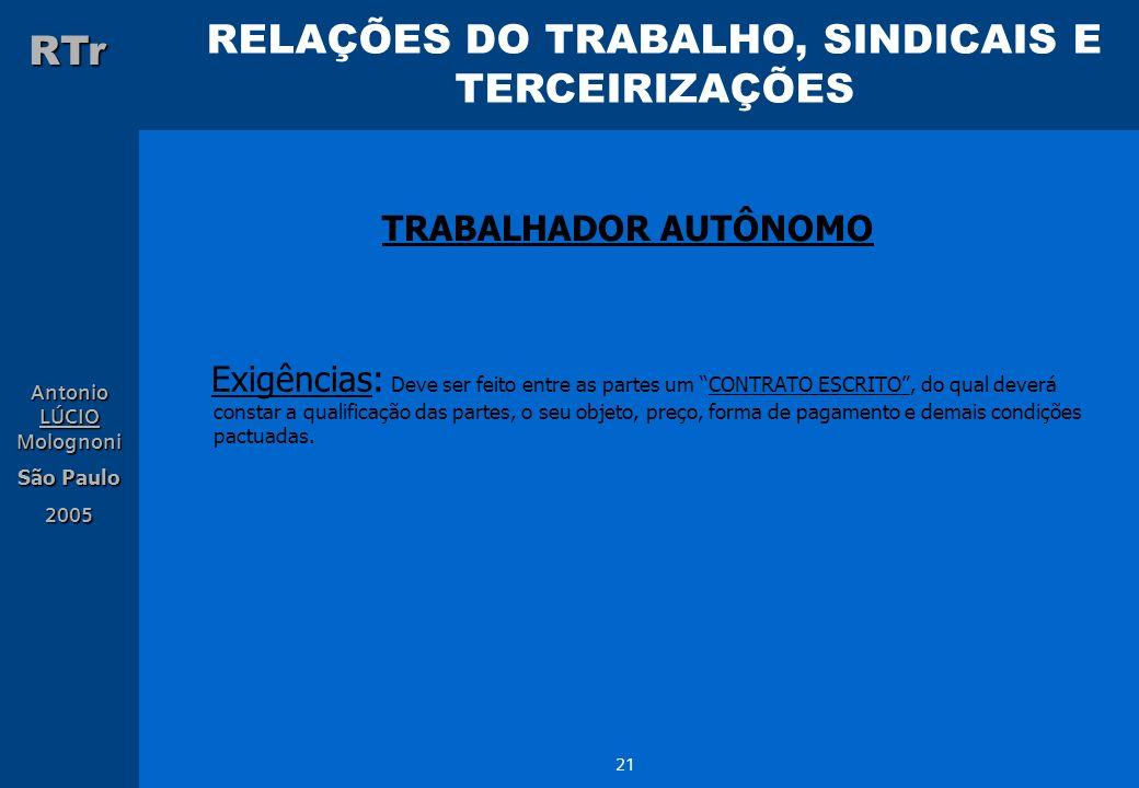 RELAÇÕES DO TRABALHO, SINDICAIS E TERCEIRIZAÇÕES RTr Antonio LÚCIO Molognoni São Paulo 2005 21 TRABALHADOR AUTÔNOMO Exigências: Deve ser feito entre a