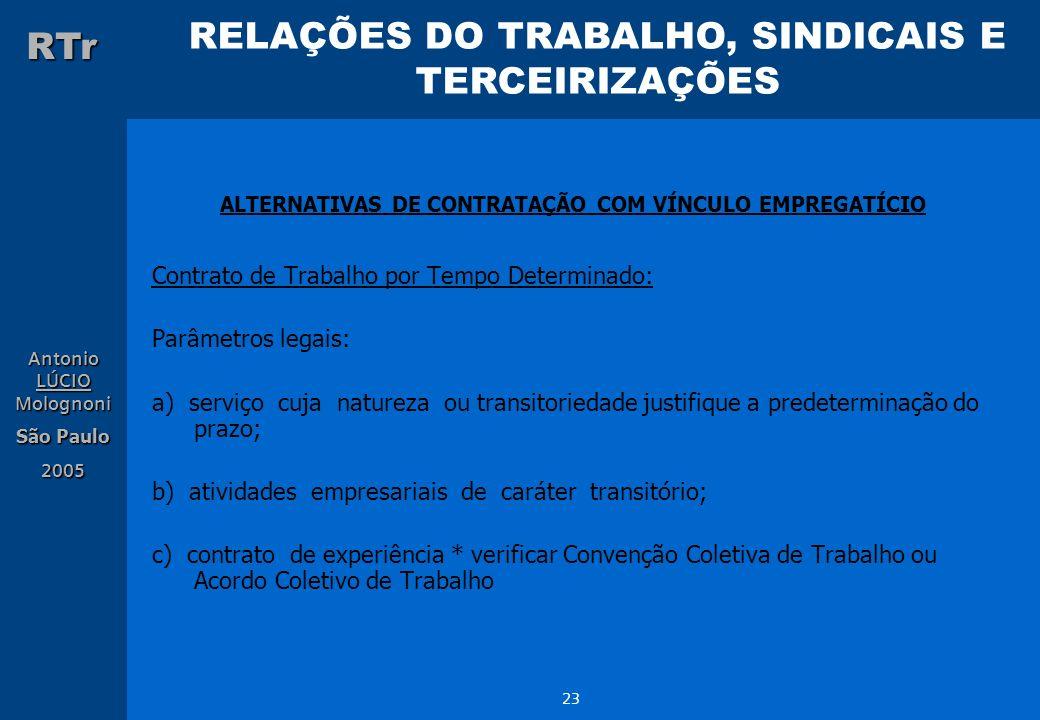 RELAÇÕES DO TRABALHO, SINDICAIS E TERCEIRIZAÇÕES RTr Antonio LÚCIO Molognoni São Paulo 2005 23 ALTERNATIVAS DE CONTRATAÇÃO COM VÍNCULO EMPREGATÍCIO Co
