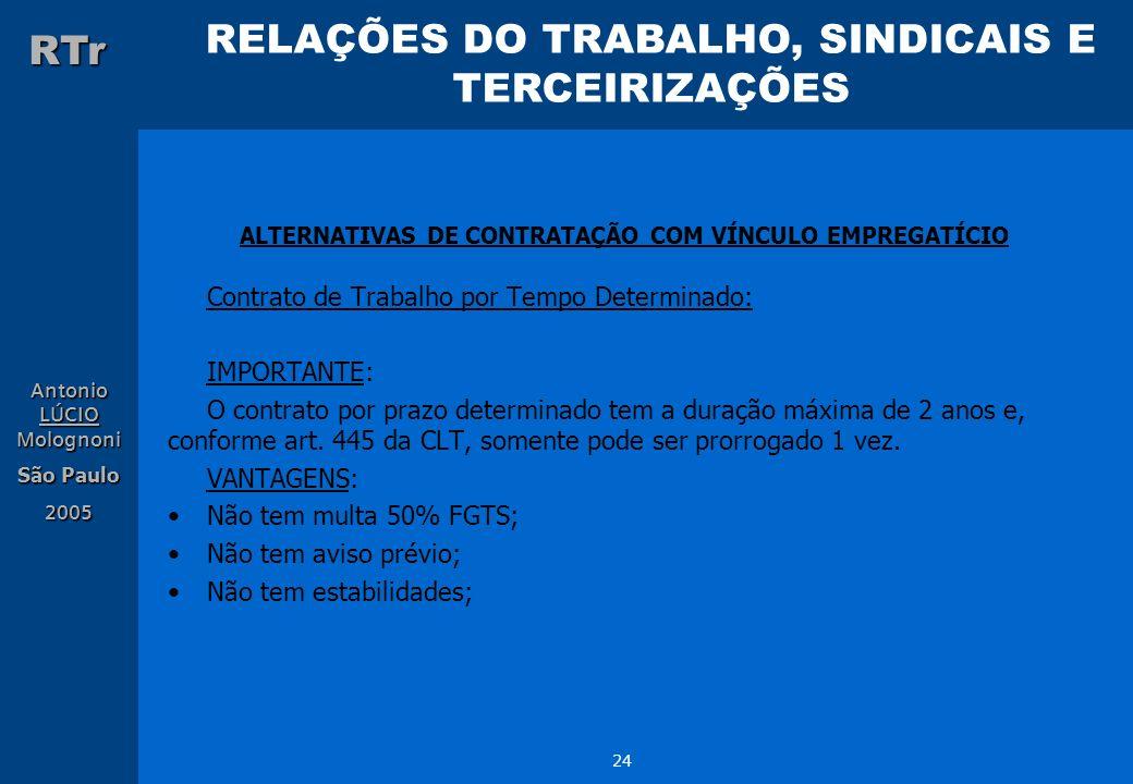RELAÇÕES DO TRABALHO, SINDICAIS E TERCEIRIZAÇÕES RTr Antonio LÚCIO Molognoni São Paulo 2005 24 ALTERNATIVAS DE CONTRATAÇÃO COM VÍNCULO EMPREGATÍCIO Co