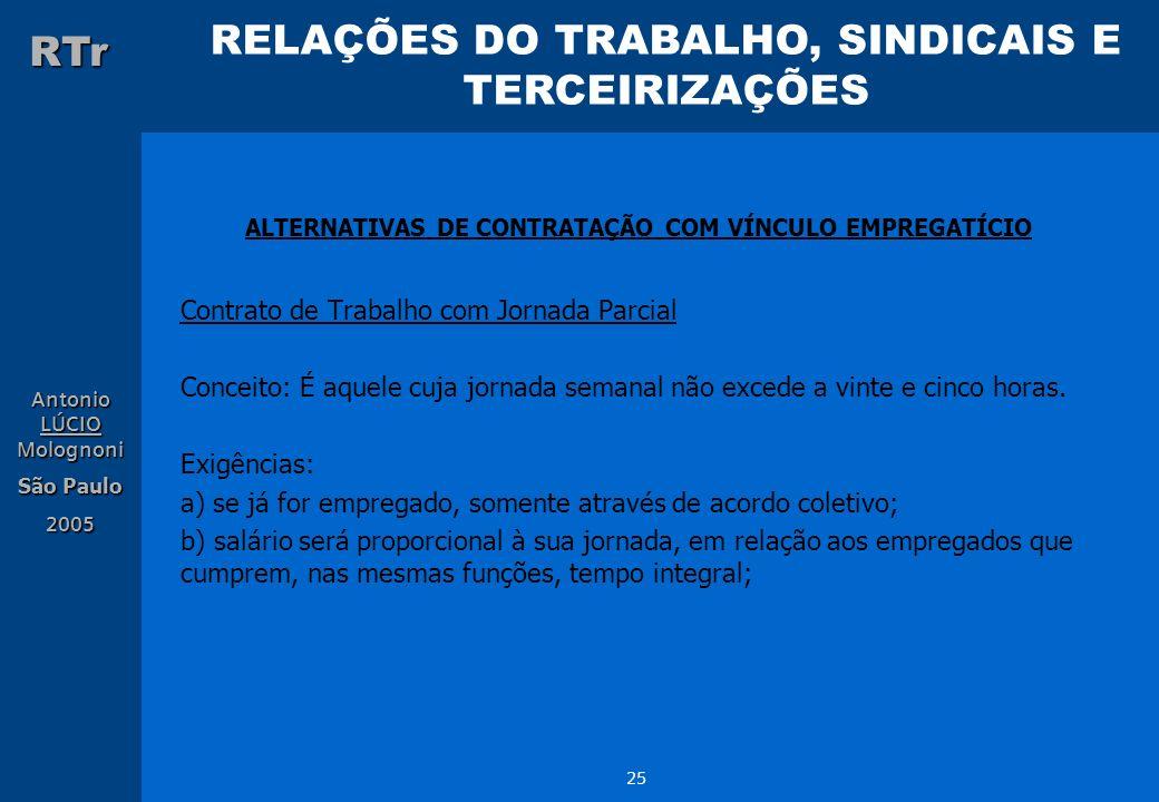 RELAÇÕES DO TRABALHO, SINDICAIS E TERCEIRIZAÇÕES RTr Antonio LÚCIO Molognoni São Paulo 2005 25 ALTERNATIVAS DE CONTRATAÇÃO COM VÍNCULO EMPREGATÍCIO Co
