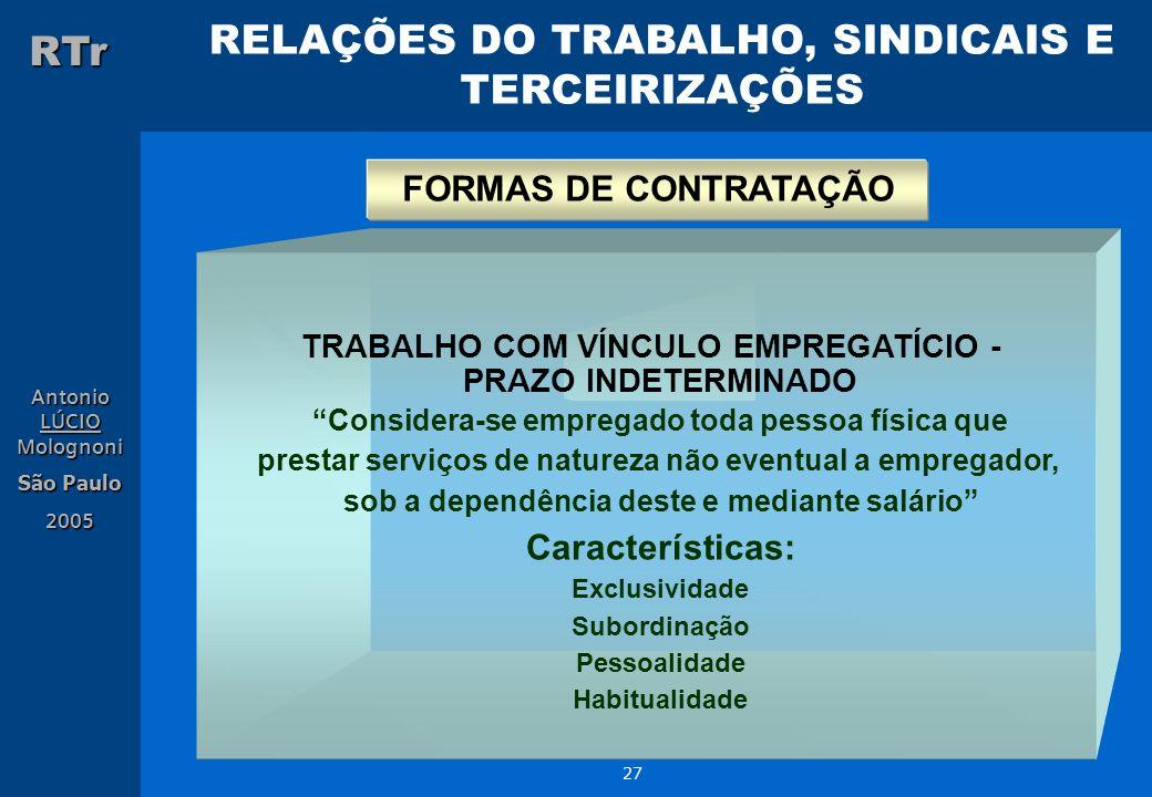 RELAÇÕES DO TRABALHO, SINDICAIS E TERCEIRIZAÇÕES RTr Antonio LÚCIO Molognoni São Paulo 2005 27 TRABALHO COM VÍNCULO EMPREGATÍCIO - PRAZO INDETERMINADO