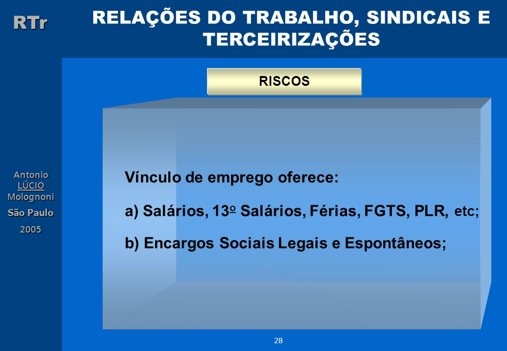 RELAÇÕES DO TRABALHO, SINDICAIS E TERCEIRIZAÇÕES RTr Antonio LÚCIO Molognoni São Paulo 2005 28 Vínculo de emprego oferece: a) Salários, 13 o Salários,