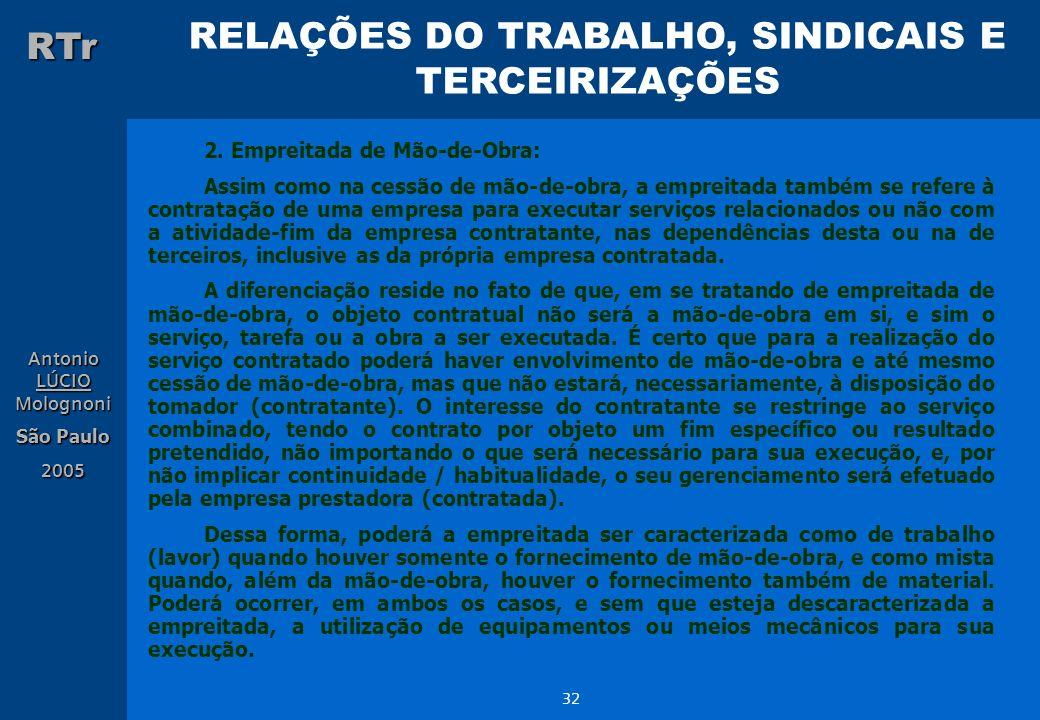 RELAÇÕES DO TRABALHO, SINDICAIS E TERCEIRIZAÇÕES RTr Antonio LÚCIO Molognoni São Paulo 2005 32 2. Empreitada de Mão-de-Obra: Assim como na cessão de m