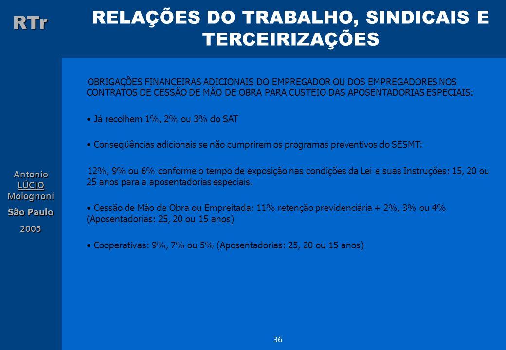 RELAÇÕES DO TRABALHO, SINDICAIS E TERCEIRIZAÇÕES RTr Antonio LÚCIO Molognoni São Paulo 2005 36 OBRIGAÇÕES FINANCEIRAS ADICIONAIS DO EMPREGADOR OU DOS