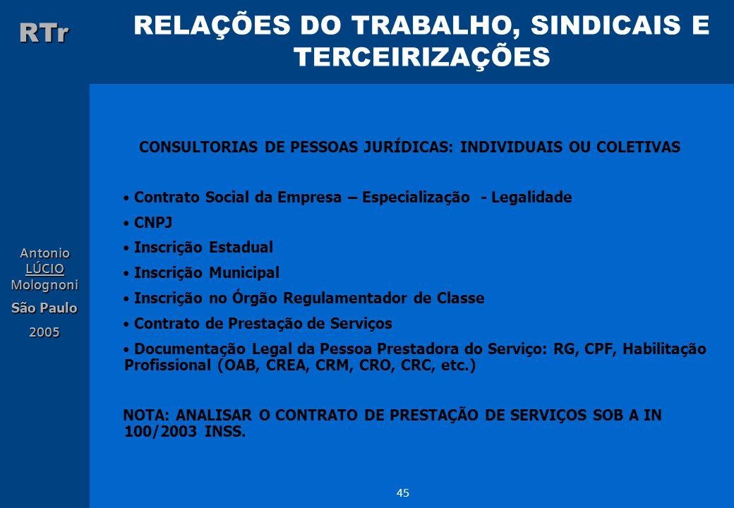 RELAÇÕES DO TRABALHO, SINDICAIS E TERCEIRIZAÇÕES RTr Antonio LÚCIO Molognoni São Paulo 2005 45 CONSULTORIAS DE PESSOAS JURÍDICAS: INDIVIDUAIS OU COLET