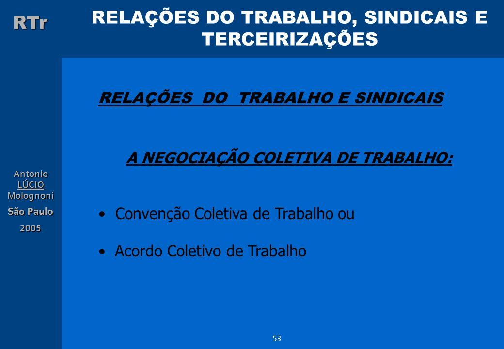 RELAÇÕES DO TRABALHO, SINDICAIS E TERCEIRIZAÇÕES RTr Antonio LÚCIO Molognoni São Paulo 2005 53 RELAÇÕES DO TRABALHO E SINDICAIS A NEGOCIAÇÃO COLETIVA