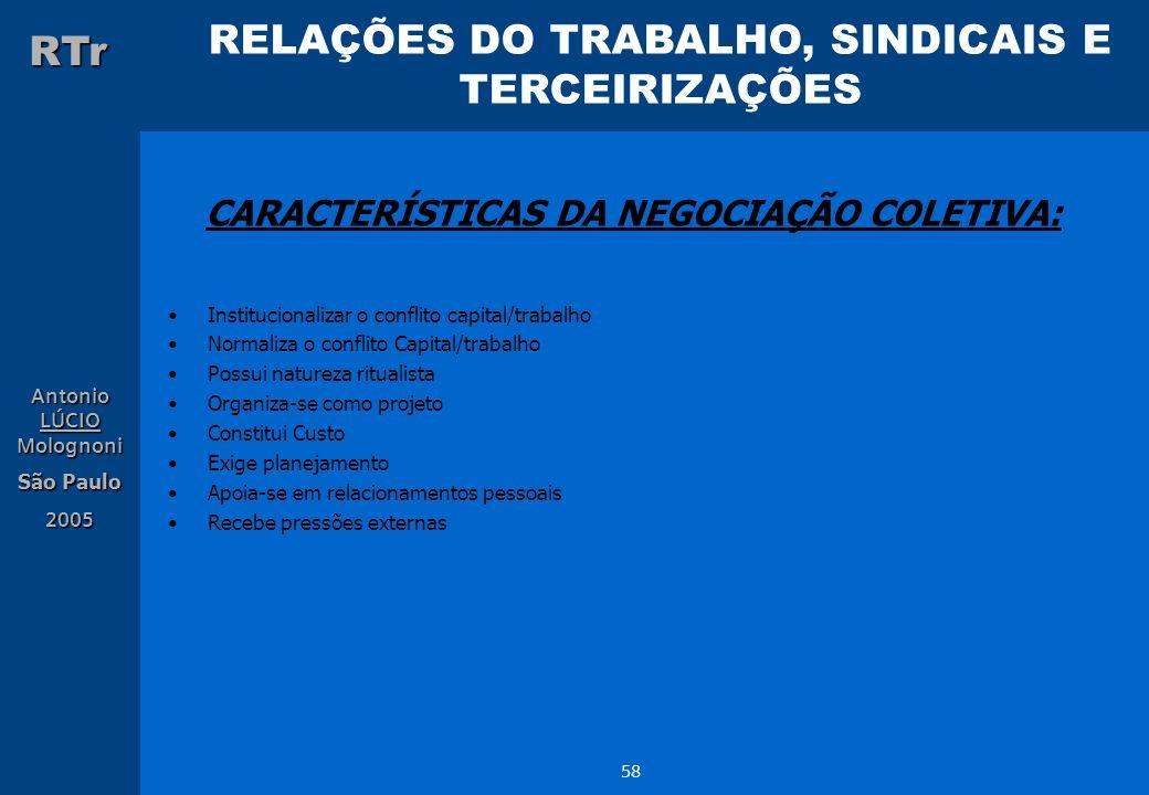 RELAÇÕES DO TRABALHO, SINDICAIS E TERCEIRIZAÇÕES RTr Antonio LÚCIO Molognoni São Paulo 2005 58 CARACTERÍSTICAS DA NEGOCIAÇÃO COLETIVA: Institucionaliz