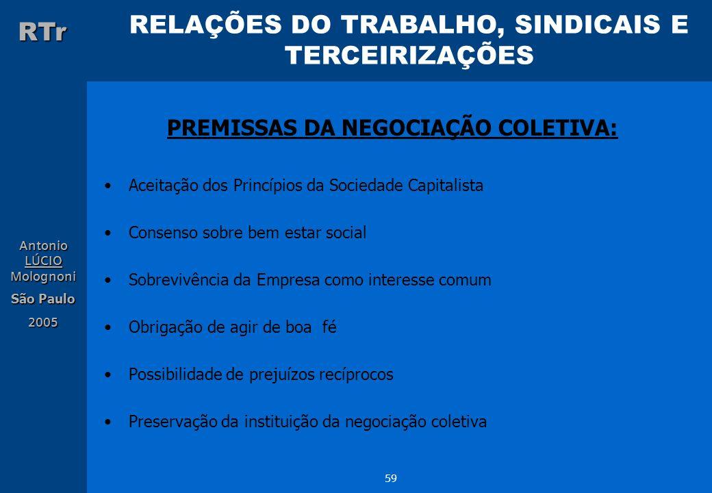 RELAÇÕES DO TRABALHO, SINDICAIS E TERCEIRIZAÇÕES RTr Antonio LÚCIO Molognoni São Paulo 2005 59 PREMISSAS DA NEGOCIAÇÃO COLETIVA: Aceitação dos Princíp