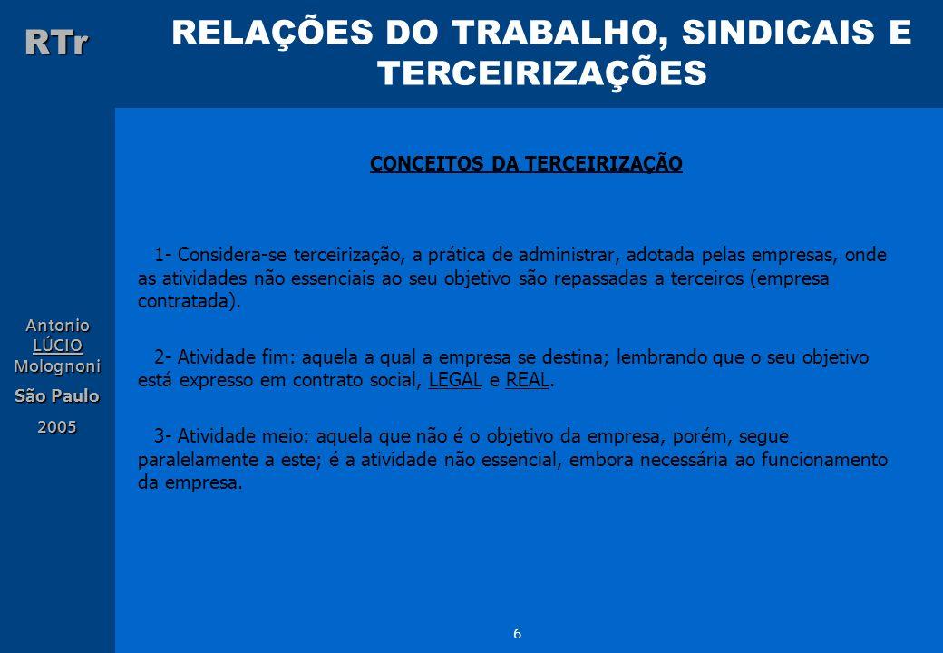 RELAÇÕES DO TRABALHO, SINDICAIS E TERCEIRIZAÇÕES RTr Antonio LÚCIO Molognoni São Paulo 2005 6 CONCEITOS DA TERCEIRIZAÇÃO 1- Considera-se terceirização