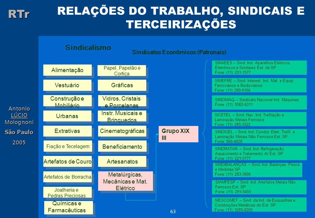 RELAÇÕES DO TRABALHO, SINDICAIS E TERCEIRIZAÇÕES RTr Antonio LÚCIO Molognoni São Paulo 2005 63 Sindicalismo Sindicatos Econômicos (Patronais) Alimenta