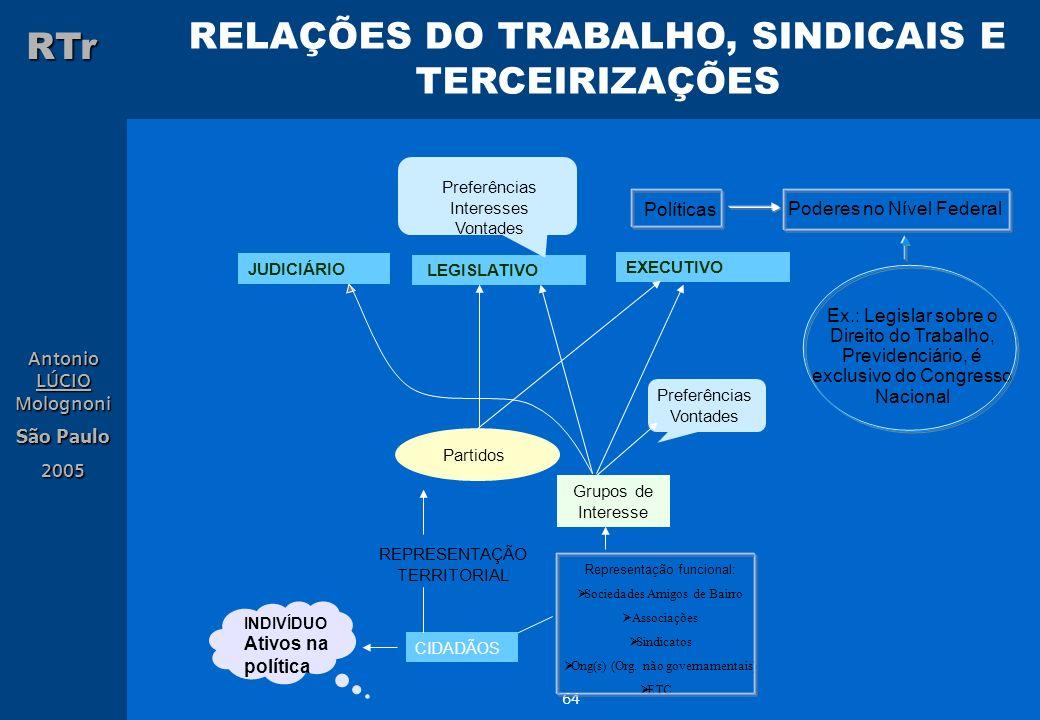 RELAÇÕES DO TRABALHO, SINDICAIS E TERCEIRIZAÇÕES RTr Antonio LÚCIO Molognoni São Paulo 2005 64 JUDICIÁRIO LEGISLATIVO EXECUTIVO Preferências Interesse
