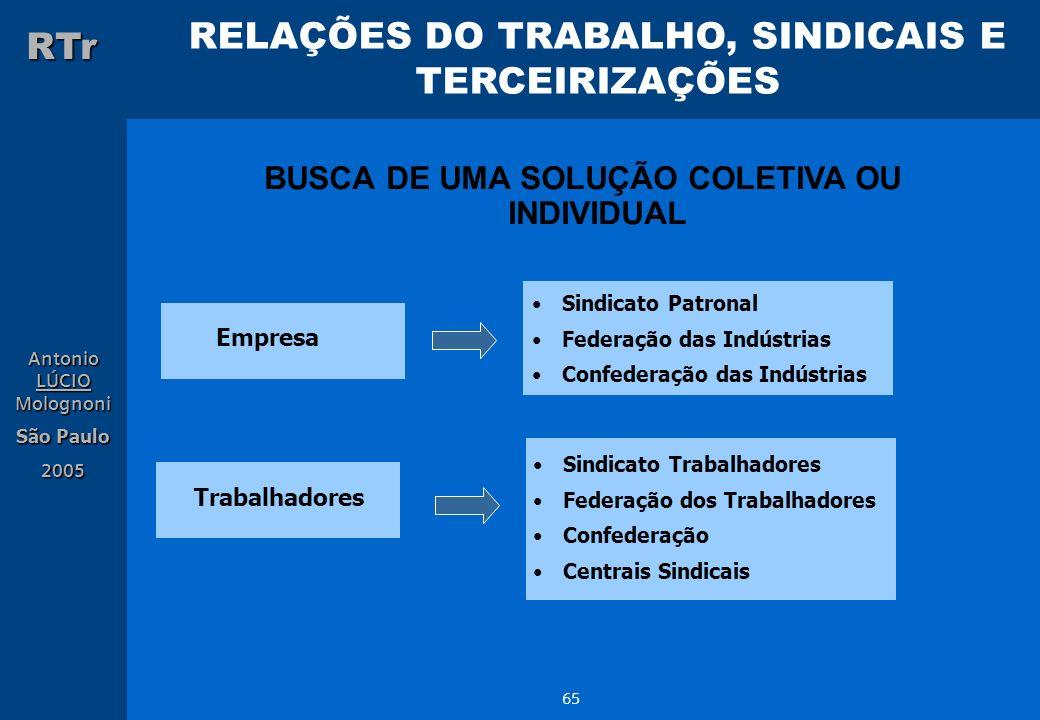 RELAÇÕES DO TRABALHO, SINDICAIS E TERCEIRIZAÇÕES RTr Antonio LÚCIO Molognoni São Paulo 2005 65 Sindicato Patronal Federação das Indústrias Confederaçã