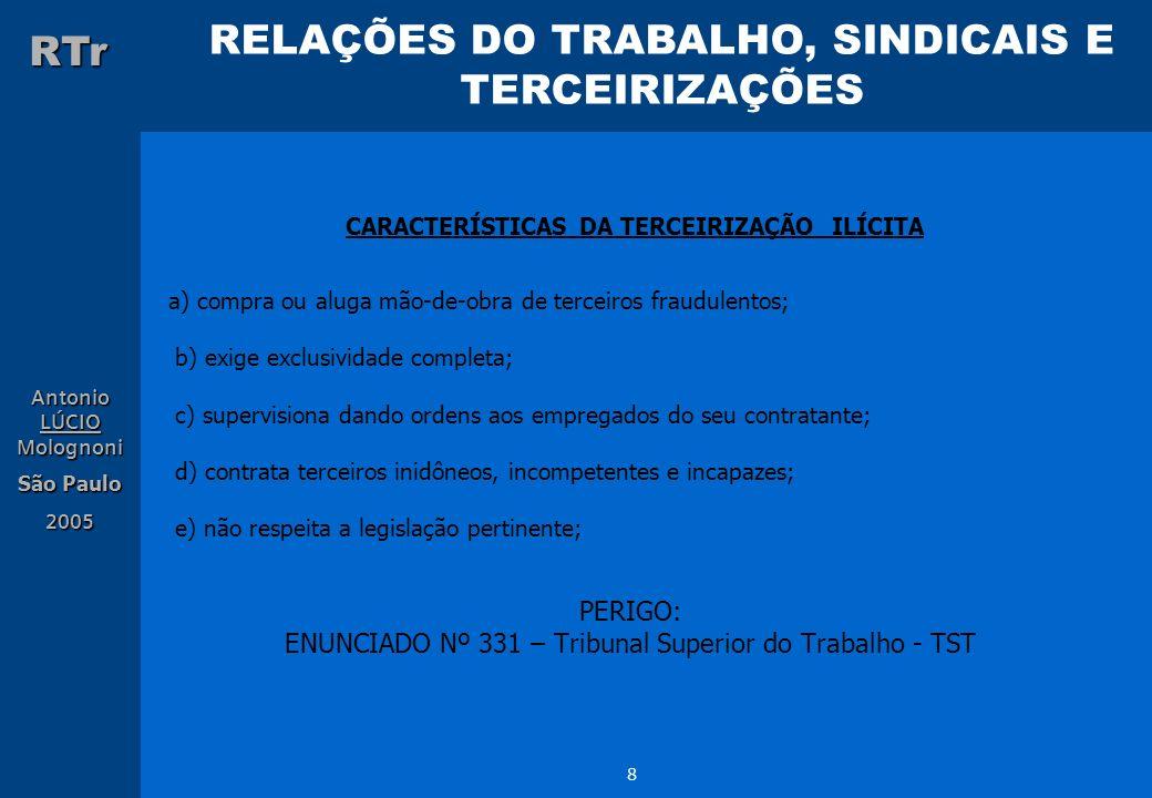 RELAÇÕES DO TRABALHO, SINDICAIS E TERCEIRIZAÇÕES RTr Antonio LÚCIO Molognoni São Paulo 2005 8 CARACTERÍSTICAS DA TERCEIRIZAÇÃO ILÍCITA a) compra ou al