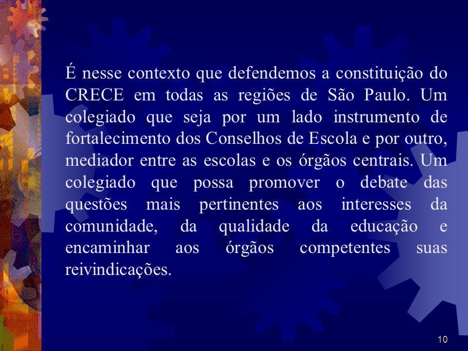 10 É nesse contexto que defendemos a constituição do CRECE em todas as regiões de São Paulo. Um colegiado que seja por um lado instrumento de fortalec