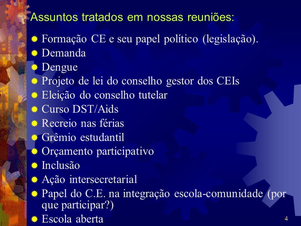 4 Assuntos tratados em nossas reuniões: Formação CE e seu papel político (legislação). Demanda Dengue Projeto de lei do conselho gestor dos CEIs Eleiç