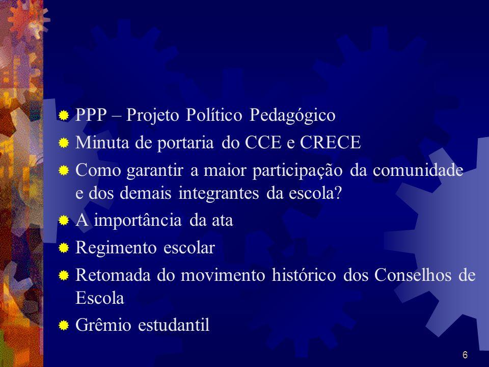 6 PPP – Projeto Político Pedagógico Minuta de portaria do CCE e CRECE Como garantir a maior participação da comunidade e dos demais integrantes da esc