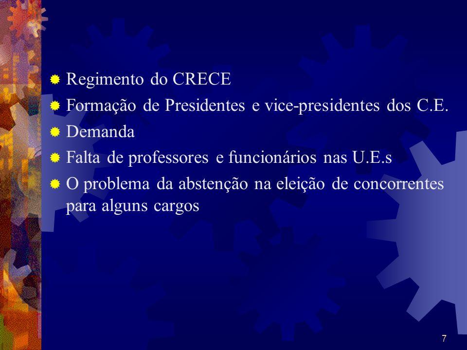 7 Regimento do CRECE Formação de Presidentes e vice-presidentes dos C.E. Demanda Falta de professores e funcionários nas U.E.s O problema da abstenção