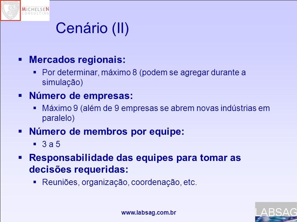 www.labsag.com.br Cenário (II) Mercados regionais: Por determinar, máximo 8 (podem se agregar durante a simulação) Número de empresas: Máximo 9 (além