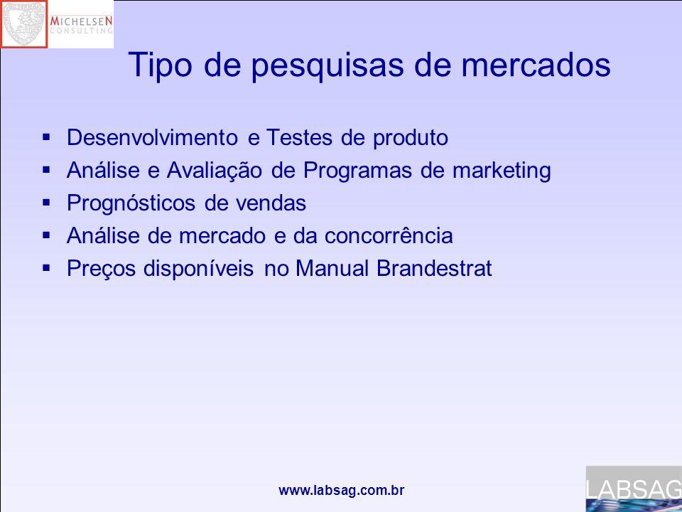 www.labsag.com.br NºLista de pesquisas de mercado disponíveis 1 Informação competitiva-Dividendos e Lucros 2 Análise de Composição de Marca 3 Tamanho da Força de Vendas da Indústria 4 Propaganda e publicidade da Indústria 5 Remuneração da Força de Vendas da Indústria 6 Promoção da Indústria 7 P & D da Indústria 8 Análise de Conteúdo de Mídias 9 Análise de Tipo de Ação Promocional 10 Análise Conjunta 11 Consciência de Marca 12 Teste de Conceito 13 Teste de Preferência, 2 Marcas Existentes 14 Teste de Preferência, 1 Marca Existente e 1 Hipotética 15 Teste de Preferência, 2 Marcas Hipotéticas 16 Relatório de Estatísticas Operacionais 17 Avaliação da Qualidade de Marcas 18 Busca de Patentes 19 Informação competitiva- Folhas do Balanço Informação competitiva e Análise de Mercado