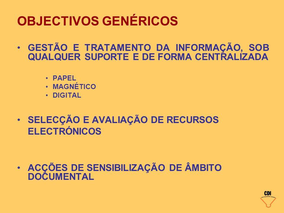 OBJECTIVOS GENÉRICOS GESTÃO E TRATAMENTO DA INFORMAÇÃO, SOB QUALQUER SUPORTE E DE FORMA CENTRALIZADA PAPEL MAGNÉTICO DIGITAL SELECÇÃO E AVALIAÇÃO DE R