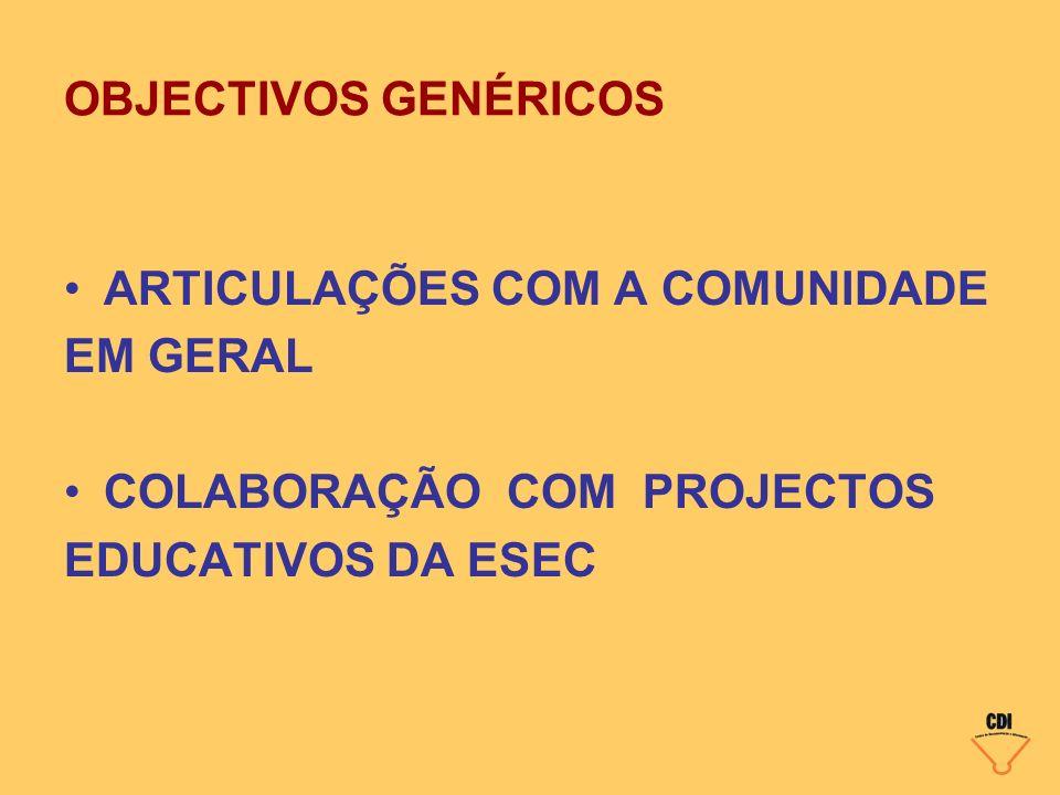 OBJECTIVOS GENÉRICOS ARTICULAÇÕES COM A COMUNIDADE EM GERAL COLABORAÇÃO COM PROJECTOS EDUCATIVOS DA ESEC