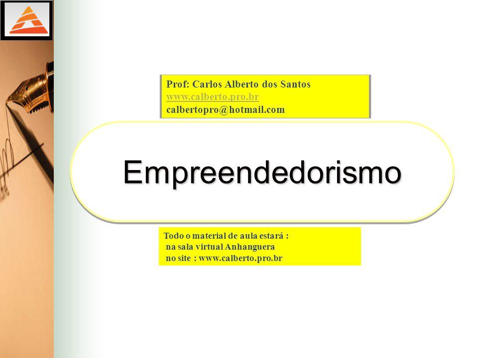 EmpreendedorismoEmpreendedorismo Prof: Carlos Alberto dos Santos www.calberto.pro.br calbertopro@hotmail.com Todo o material de aula estará : na sala