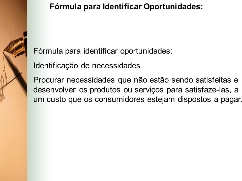 Fórmula para identificar oportunidades: Identificação de necessidades Procurar necessidades que não estão sendo satisfeitas e desenvolver os produtos