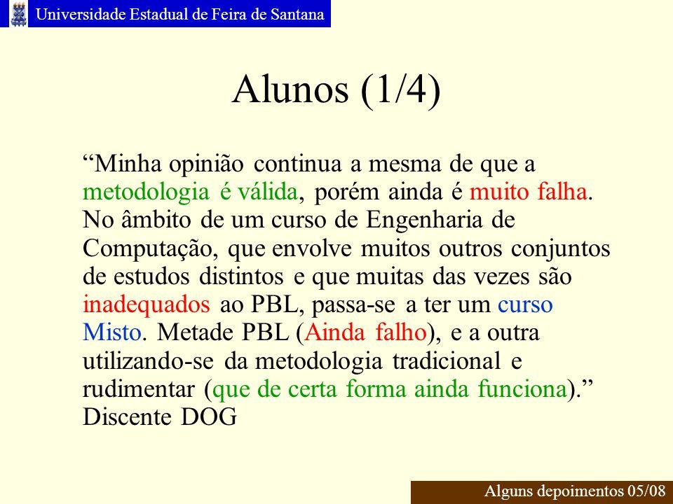 Universidade Estadual de Feira de Santana Alunos (1/4) Alguns depoimentos 05/08 Minha opinião continua a mesma de que a metodologia é válida, porém ainda é muito falha.