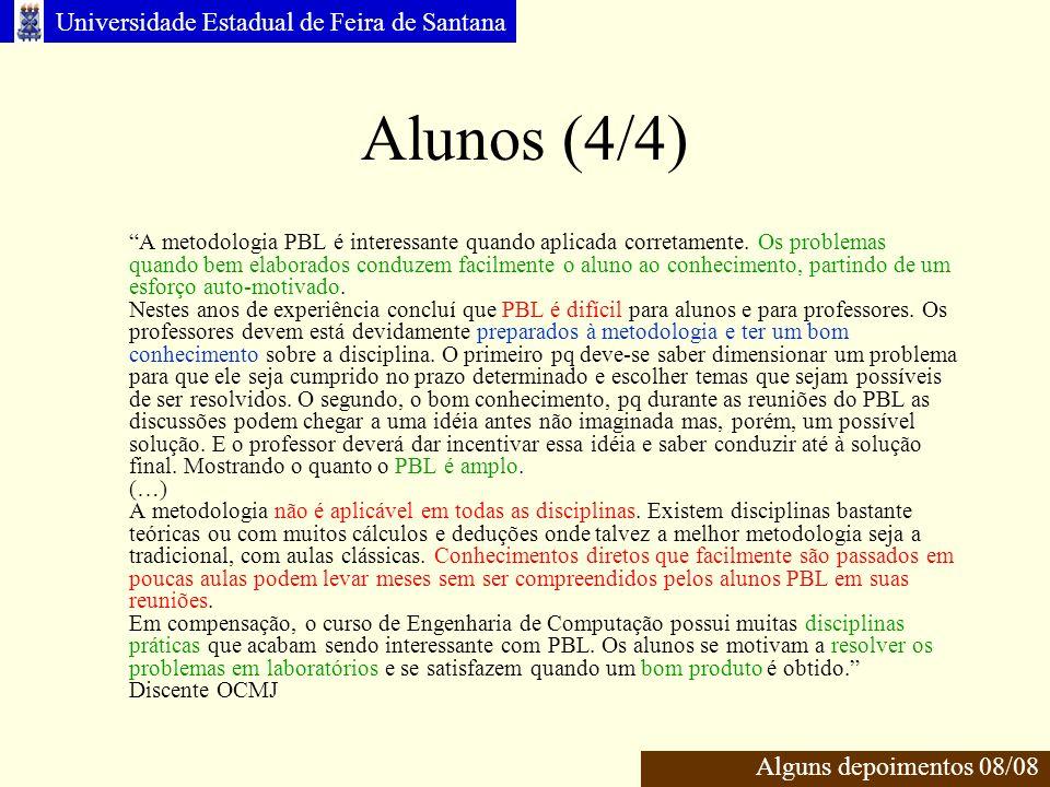 Universidade Estadual de Feira de Santana Alunos (4/4) Alguns depoimentos 08/08 A metodologia PBL é interessante quando aplicada corretamente.