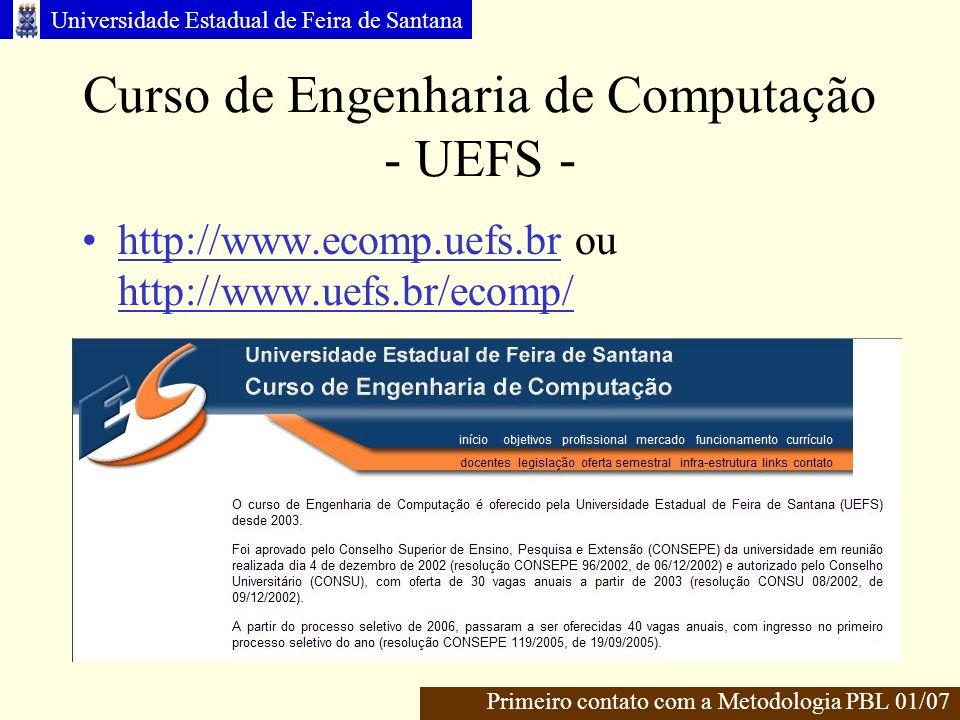 Universidade Estadual de Feira de Santana Curso de Engenharia de Computação - UEFS - http://www.ecomp.uefs.br ou http://www.uefs.br/ecomp/ Primeiro contato com a Metodologia PBL 01/07