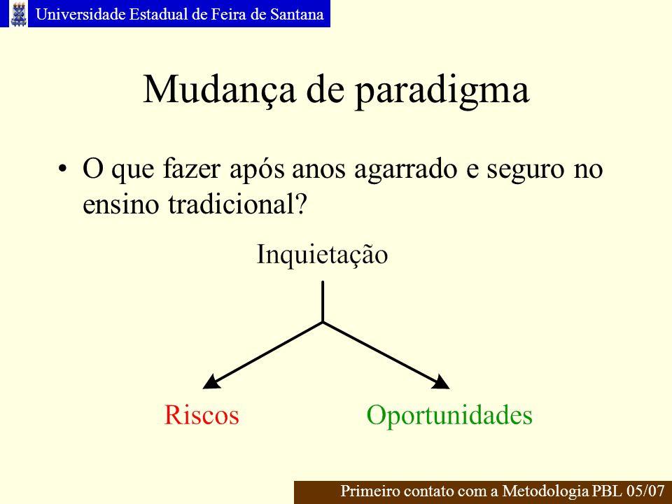 Universidade Estadual de Feira de Santana Mudança de paradigma O que fazer após anos agarrado e seguro no ensino tradicional.