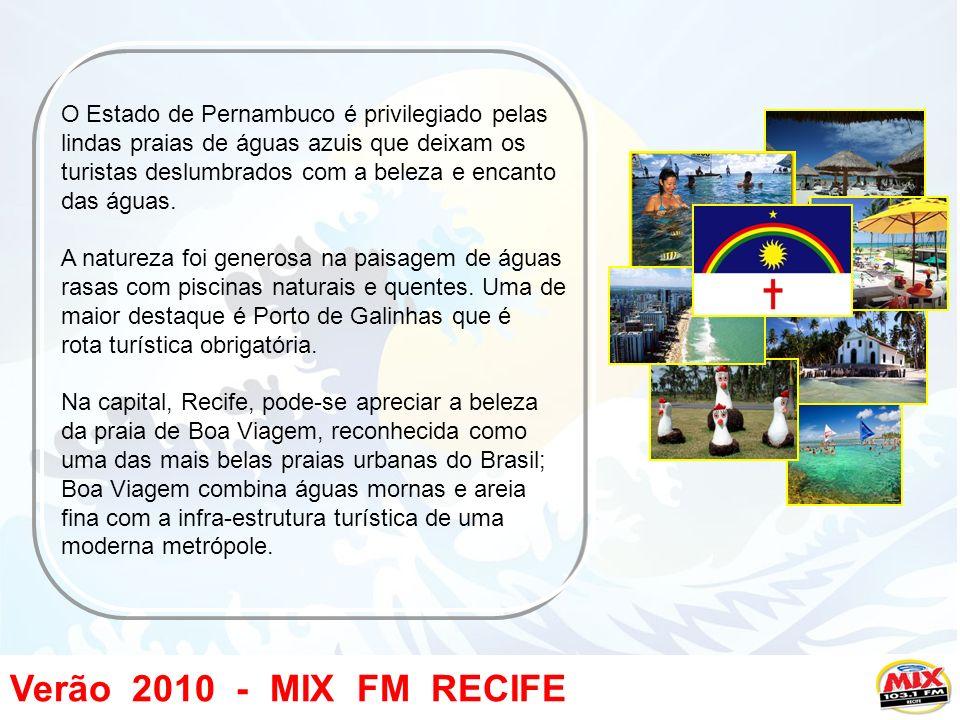 Verão 2010 - MIX FM RECIFE O Estado de Pernambuco é privilegiado pelas lindas praias de águas azuis que deixam os turistas deslumbrados com a beleza e encanto das águas.