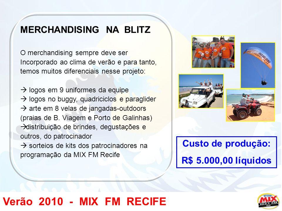 Verão 2010 - MIX FM RECIFE MERCHANDISING NA BLITZ O merchandising sempre deve ser Incorporado ao clima de verão e para tanto, temos muitos diferenciais nesse projeto: logos em 9 uniformes da equipe logos no buggy, quadriciclos e paraglider arte em 8 velas de jangadas-outdoors (praias de B.