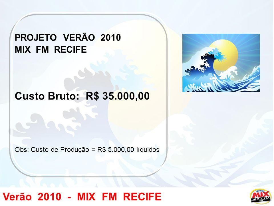 Verão 2010 - MIX FM RECIFE PROJETO VERÃO 2010 MIX FM RECIFE Custo Bruto: R$ 35.000,00 Obs: Custo de Produção = R$ 5.000,00 líquidos