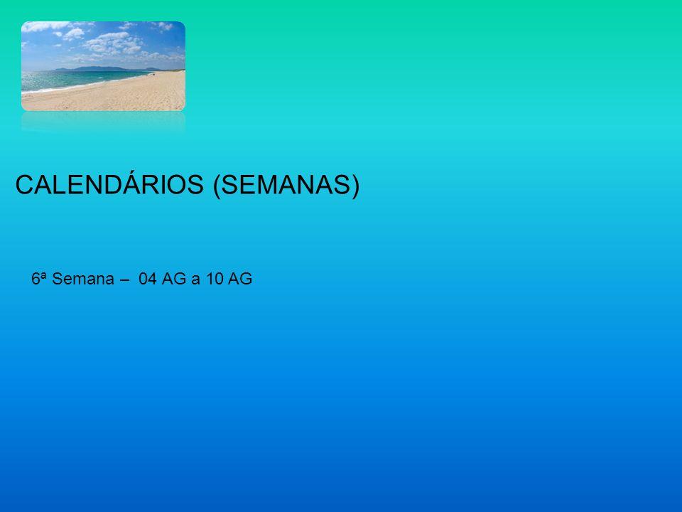 6ª Semana – 04 AG a 10 AG CALENDÁRIOS (SEMANAS)