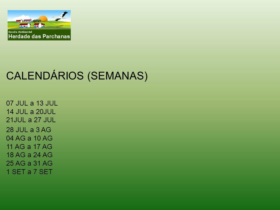 28 JUL a 3 AG 04 AG a 10 AG 11 AG a 17 AG 18 AG a 24 AG 25 AG a 31 AG 1 SET a 7 SET CALENDÁRIOS (SEMANAS) 07 JUL a 13 JUL 14 JUL a 20JUL 21JUL a 27 JU