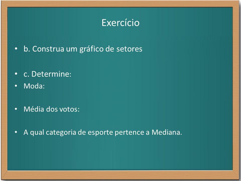 Exercício b. Construa um gráfico de setores c. Determine : Moda: Média dos votos: A qual categoria de esporte pertence a Mediana.