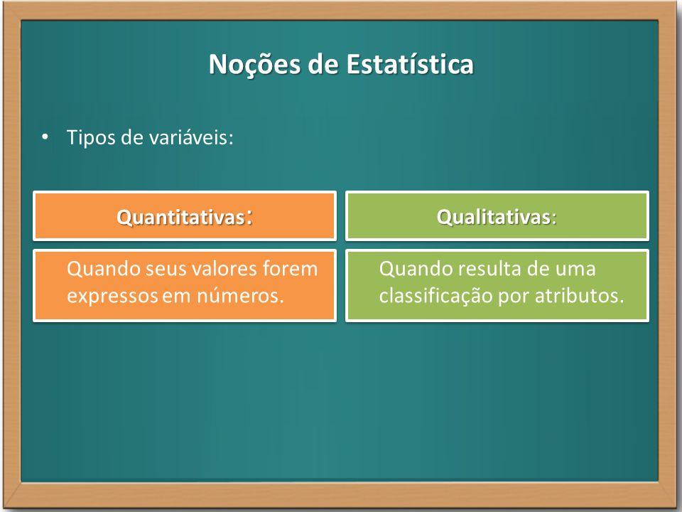 Noções de Estatística Tipos de variáveis: Quantitativas : Qualitativas: Quando seus valores forem expressos em números. Quando resulta de uma classifi