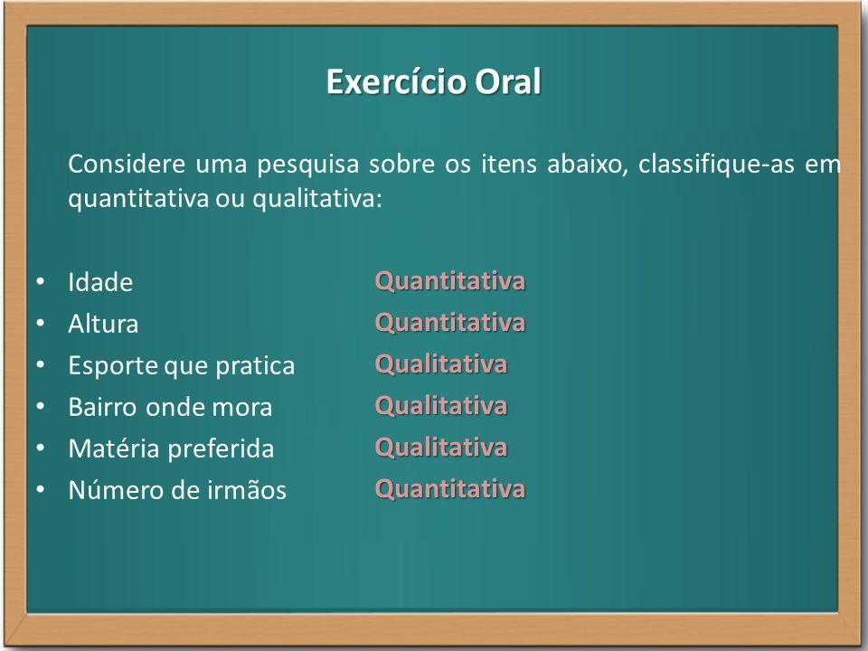 Exercício Oral Considere uma pesquisa sobre os itens abaixo, classifique-as em quantitativa ou qualitativa: Idade Altura Esporte que pratica Bairro on