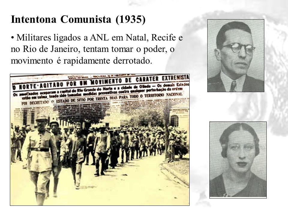 Intentona Comunista (1935) Militares ligados a ANL em Natal, Recife e no Rio de Janeiro, tentam tomar o poder, o movimento é rapidamente derrotado.