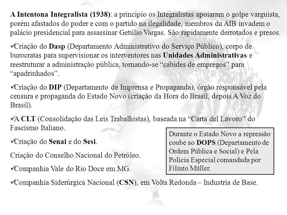A Intentona Integralista (1938): a princípio os Integralistas apoiaram o golpe varguista, porém afastados do poder e com o partido na ilegalidade, mem