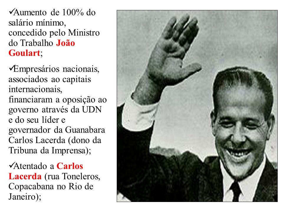 Aumento de 100% do salário mínimo, concedido pelo Ministro do Trabalho João Goulart; Empresários nacionais, associados ao capitais internacionais, fin